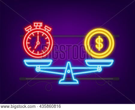 Time Is Money On Scales Icon. Neon Icon. Money And Time Balance On Scale. Vector Stock Illustration