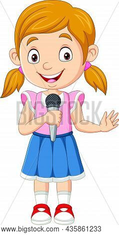 Vector Illustration Of Cute Little Girl Singing Holding The Mic