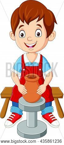 Vector Illustration Of Cute Little Boy Making Pottery Clay Pot