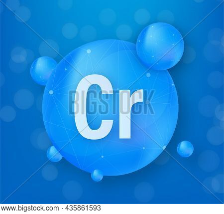 Mineral Cr Chromium Blue Shining Pill Capsule Icon. Substance For Beauty. Chromium Mineral Complex.