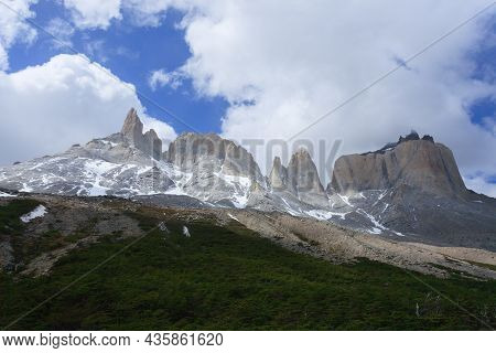 French Valley Landscape From Britannic Viewpoint, Torres Del Paine National Park, Chile. Cuernos Del