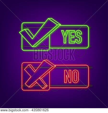 Yes No Word Text On Talk Shape. Vector Stock Illustration Yes No In Speech Bubble In Neon Style. Vec