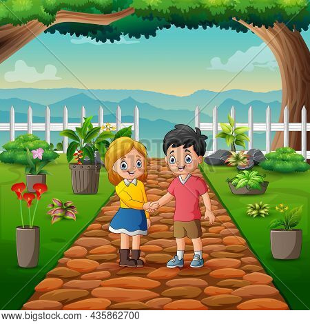 Cartoon Two Teenagers Shaking Hands On A Park Road Illustration