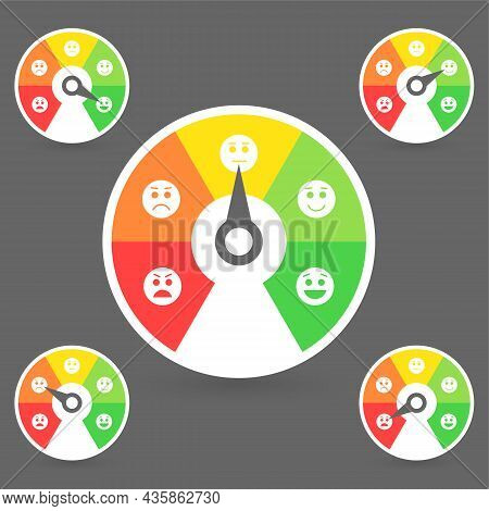 Credit Score Meter With Color Levels From Poor To Good. Rating Customer Satisfaction Indicators. Abs