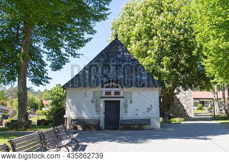 Sweden, Sigtuna - May 31 2019: Exterior View Of Gernerska Mausoleum Opposite St Mary's Church On May