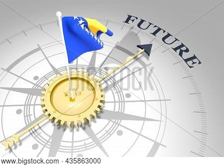 Global Business Concept. Waved Flag Of Bosnia