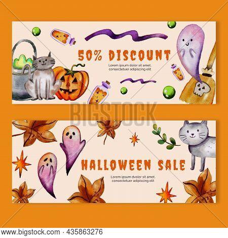 Watercolor Halloween Sale Banner