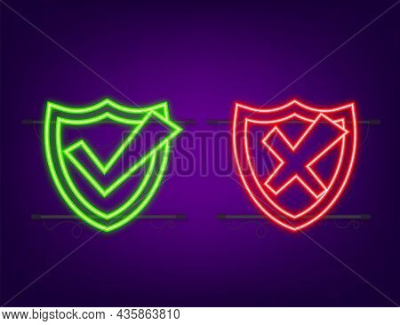 Approved And Rejected Label Sticker Neon Icon. Vector Stock Illustration