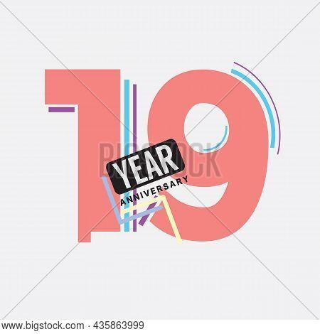 19th Years Anniversary Logo Birthday Celebration Abstract Design Vector Illustration. Eps 10