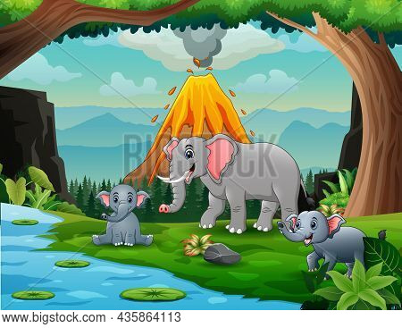 Volcano Erupting With Elephant By The River