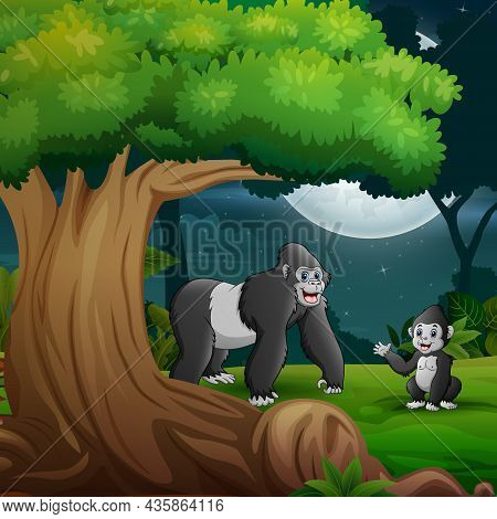 Night Forest With A Mother Gorilla And Her Cub Under The Tree