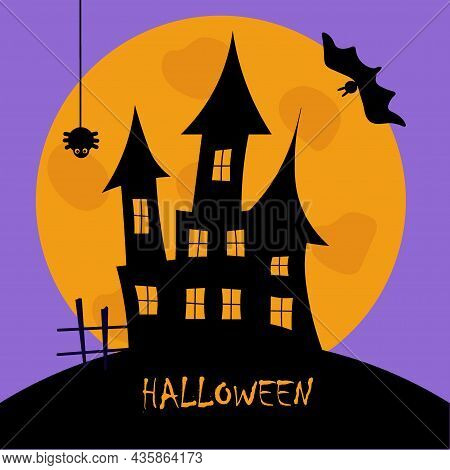 Halloween Holiday. Silhouette Of A Castle With Ghosts On The Background Of A Full Moon. A Horror Mov