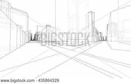 Vector 3d Urban Landscape. Buildings And Roads. Architectural Concept. Vector Rendering Of 3d