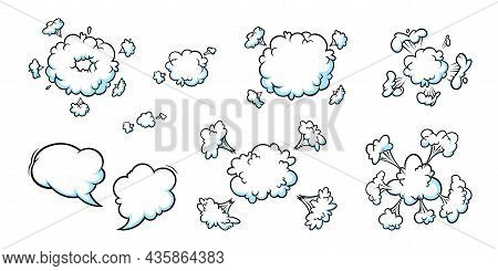 Comic Explosion Smoke Effect. Set Of Boom Clouds And Speech Bubbles For Surprising And Explosive Eve