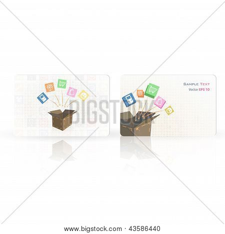 Business Card With Box. Vector Design.