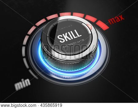 Switch with the word skill on maximum position. Skill levels knob button. Increasing skills level concept. 3d rendering