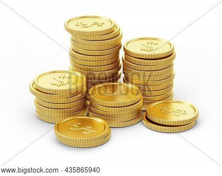 Stack of gold coins isolated on white. 3d rendering