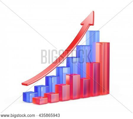 Statistic, growth concept. Bar charts and arrow isolated on white background - 3d rendering