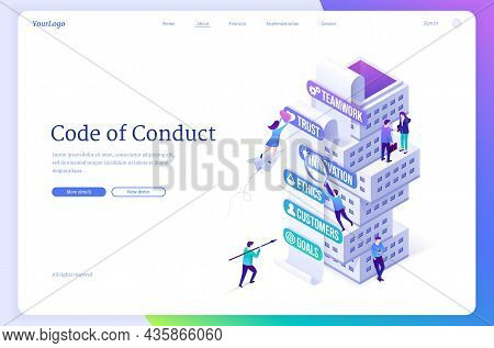 Code Of Conduct Isometric Landing Page, Company Business Rules Concept With Tiny Office People At To