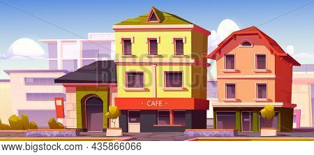 Modern Street With Cafe And Shop Buildings In European Town. Vector Cartoon Illustration Of City Wit
