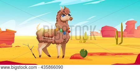 Cute Alpaca In Mexican Desert With Red Mountains, Sand And Cactuses. Vector Cartoon Illustration Of