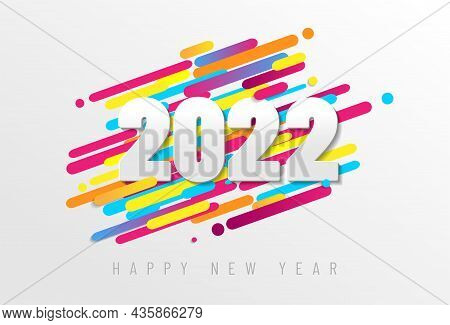 Colorful Happy New Year 2022 Card - Vector Illustration