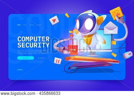 Computer Security Cartoon Landing Page, Cute Bot On Computer Monitor Screen Protect Data And Media F