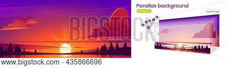 Sunset Landscape With Lake, Sun On Horizon And Silhouettes Of Trees On Coast. Vector Parallax Backgr