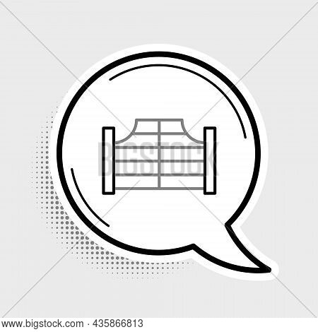 Line Old Western Swinging Saloon Door Icon Isolated On Grey Background. Colorful Outline Concept. Ve