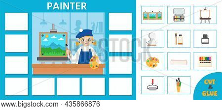 Educational Game For Kids. Puzzle. Learning Cards. Professions. Painter And Art Tools. Preschool Wor