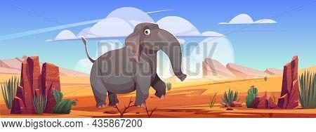 Funny Elephant Walk At Desert Landscape, Cartoon Wild Animal Character At Deserted Nature Background