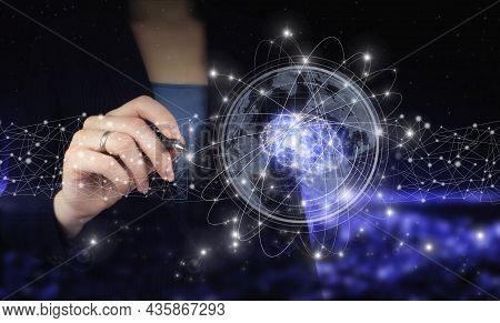 Digital Brain Artificial Intelligence. Hand Holding Digital Graphic Pen And Drawing Digital Hologram