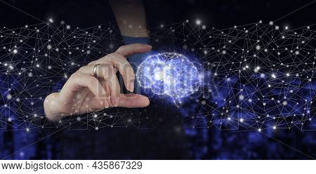 Digital Brain Artificial Intelligence. Hand Hold Digital Hologram Brain Sign On City Dark Blurred Ba