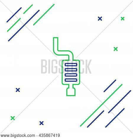 Line Car Muffler Icon Isolated On White Background. Exhaust Pipe. Colorful Outline Concept. Vector