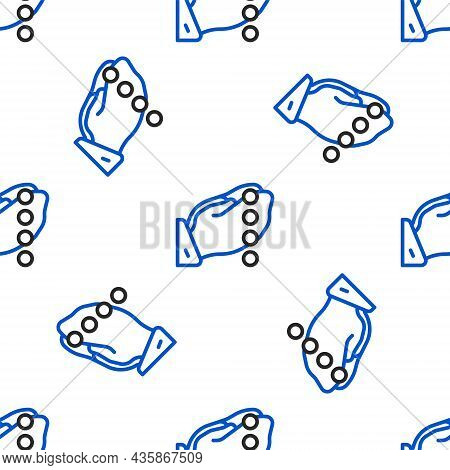 Line Hands In Praying Position With Rosary Icon Isolated Seamless Pattern On White Background. Prayi