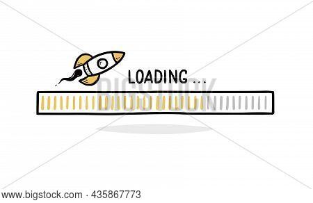 Fast Speed Loading Bar Doodle With Rocket. Speed Progress Bar, Fast Internet Concept. Hand Drawn Lin