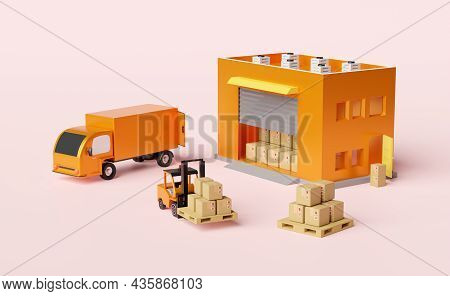 Building Warehouse With Forklift For Import Export,goods Cardboard Box, Pallet,truck Isolated On Pin