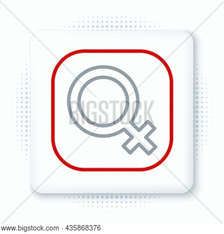 Line Female Gender Symbol Icon Isolated On White Background. Venus Symbol. The Symbol For A Female O