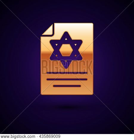 Gold Torah Scroll Icon Isolated On Black Background. Jewish Torah In Expanded Form. Star Of David Sy