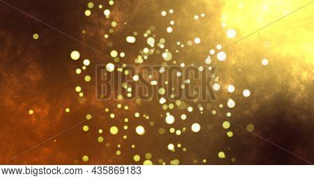 Image of warm glowing spots on brown background. light, colour and movement concept digitally generated image.
