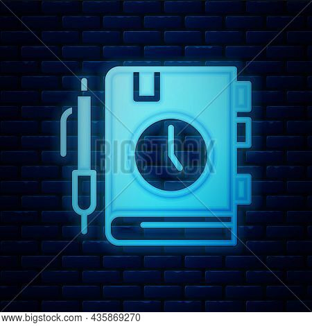 Glowing Neon Daily Paper Notepad Icon Isolated On Brick Wall Background. Vector