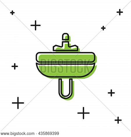 Black Washbasin With Water Tap Icon Isolated On White Background. Vector