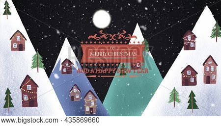 Image of merry christmas text over winter scenery with decorated houses. christmas, winter, tradition and celebration concept digitally generated image.