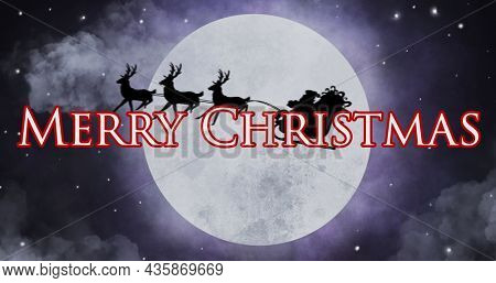 Image of merry christmas text over santa in sleigh. christmas, winter, tradition and celebration concept digitally generated image.