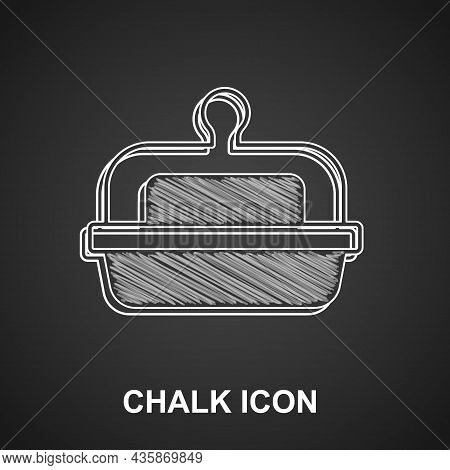 Chalk Butter In A Butter Dish Icon Isolated On Black Background. Butter Brick On Plate. Milk Based P