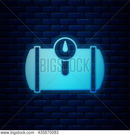Glowing Neon Gas Tank For Vehicle Icon Isolated On Brick Wall Background. Gas Tanks Are Installed In