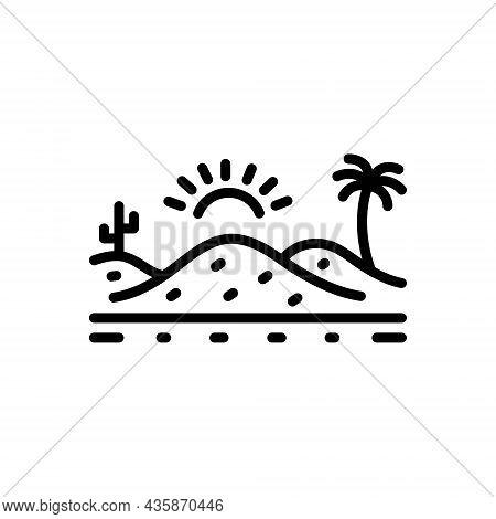 Black Line Icon For Desert Sand Sandbar Thorn Landscape Cactus Barren Infertile Natural Sun