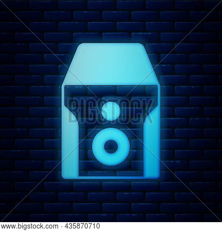 Glowing Neon Uninterruptible Power Supply Ups Icon Isolated On Brick Wall Background. Vector