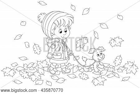 Cute Little Girl And Her Merry Pup Walking On Autumn Leaves Around A Park, Black And White Outline V