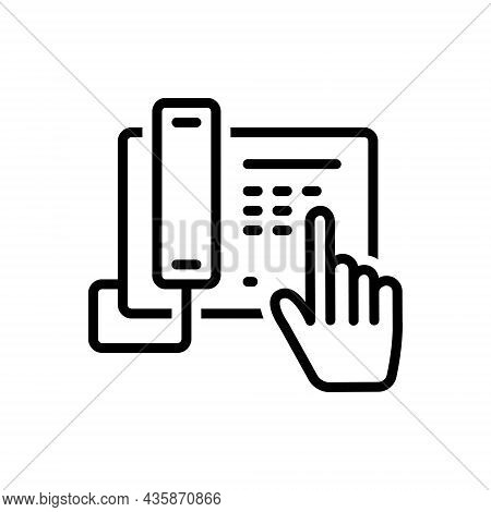 Black Line Icon For Dial Contact Number Enter Telephone Communication